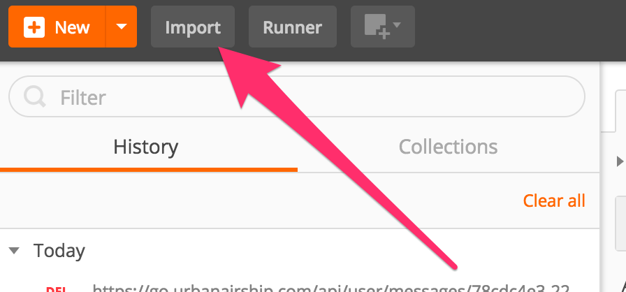 Postman Import button